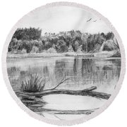 Reflections In The Water Round Beach Towel