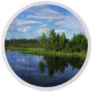 Reflections Lake Pioneer Peak Alaska Round Beach Towel