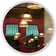 Reflections Light Buildings  Round Beach Towel