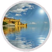 Reflections -madeira Round Beach Towel