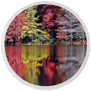 Reflections Of A Bare Grey Tree Round Beach Towel
