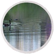 Reflections Of A Canada Goose Round Beach Towel