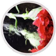 Reflections Of A Carnation Round Beach Towel