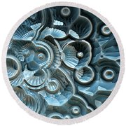 Reflections Of A Fractal Fossil Round Beach Towel