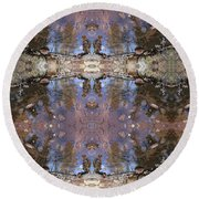 Reflections Of A Hiker Round Beach Towel