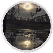 Reflections Of A Super Moon Round Beach Towel