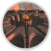 Reflections Of Another Planet Round Beach Towel