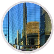 Reflections Of Chicago Round Beach Towel