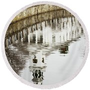 Reflections Of Church Round Beach Towel