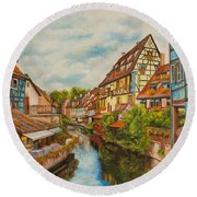 Reflections Of Colmar Round Beach Towel by Charlotte Blanchard