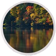 Reflections Of Colors Round Beach Towel