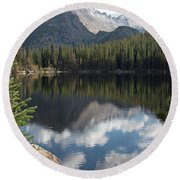 Reflections Of Majestic Mountains Round Beach Towel