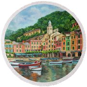 Reflections Of Portofino Round Beach Towel by Charlotte Blanchard