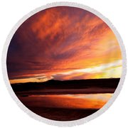 Reflections Of Red Sky Round Beach Towel