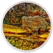 Reflections Of Rock Round Beach Towel