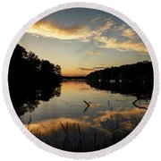 Reflections Of Sailboat Cove Round Beach Towel