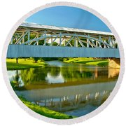 Reflections Of The Halls Mill Covered Bridge Round Beach Towel