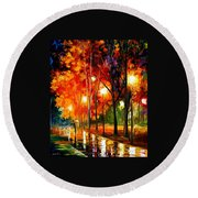 Reflections Of The Night Round Beach Towel