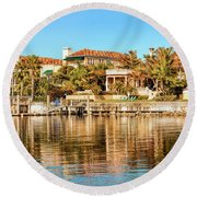 Reflections Of The Rich And Famous Round Beach Towel