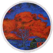 Reflections Of The Storm Round Beach Towel