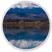 Reflections Of The Twin Peaks Round Beach Towel