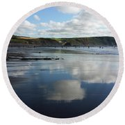 Reflections Of Widemouth Bay Round Beach Towel