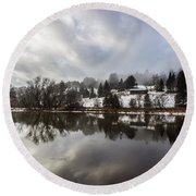 Reflections Of Winter Flood Round Beach Towel