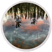 Reflections Off Pond In British Columbia Round Beach Towel