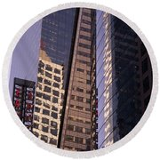 Reflections Off The Buildings Round Beach Towel