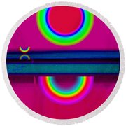 Reflections On A Glass Lake Round Beach Towel