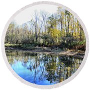 Reflections On Blue Round Beach Towel