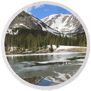 Reflections On Chinns Lake 5 Round Beach Towel