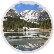 Reflections On Chinns Lake 6 Round Beach Towel