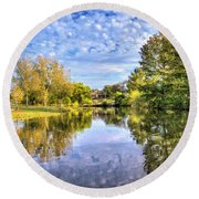 Reflections On Cibolo Creek Round Beach Towel