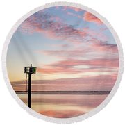 Reflections On Falling Dusk Round Beach Towel