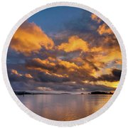 Reflections On Fire Sunset Round Beach Towel