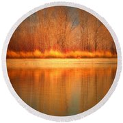 Reflections On Fire Round Beach Towel