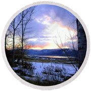 Reflections On Lake Okanagan Round Beach Towel