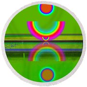 Reflections On Lime Round Beach Towel