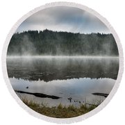 Reflections On Reflection Lake 2 Round Beach Towel