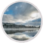 Reflections On Reflection Lake 5 Round Beach Towel