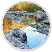 Reflections On Rocky Creek 2 Round Beach Towel