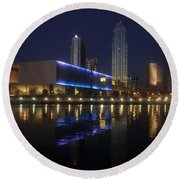 Reflections On Tampa Round Beach Towel