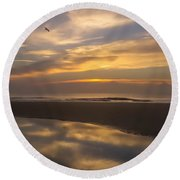 Reflections On The Beach Round Beach Towel