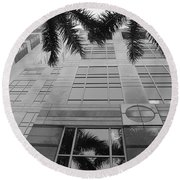 Reflections On The Building Round Beach Towel