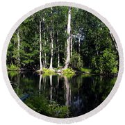 Reflections On The Ocklawaha River  Round Beach Towel