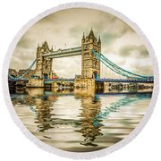 Reflections On Tower Bridge Round Beach Towel