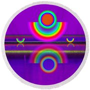 Reflections On Violet Round Beach Towel