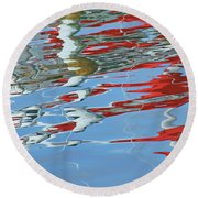 Reflections - Red White Blue Round Beach Towel