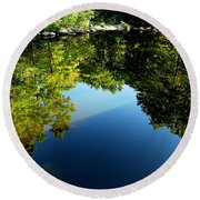 Reflections Trees Round Beach Towel